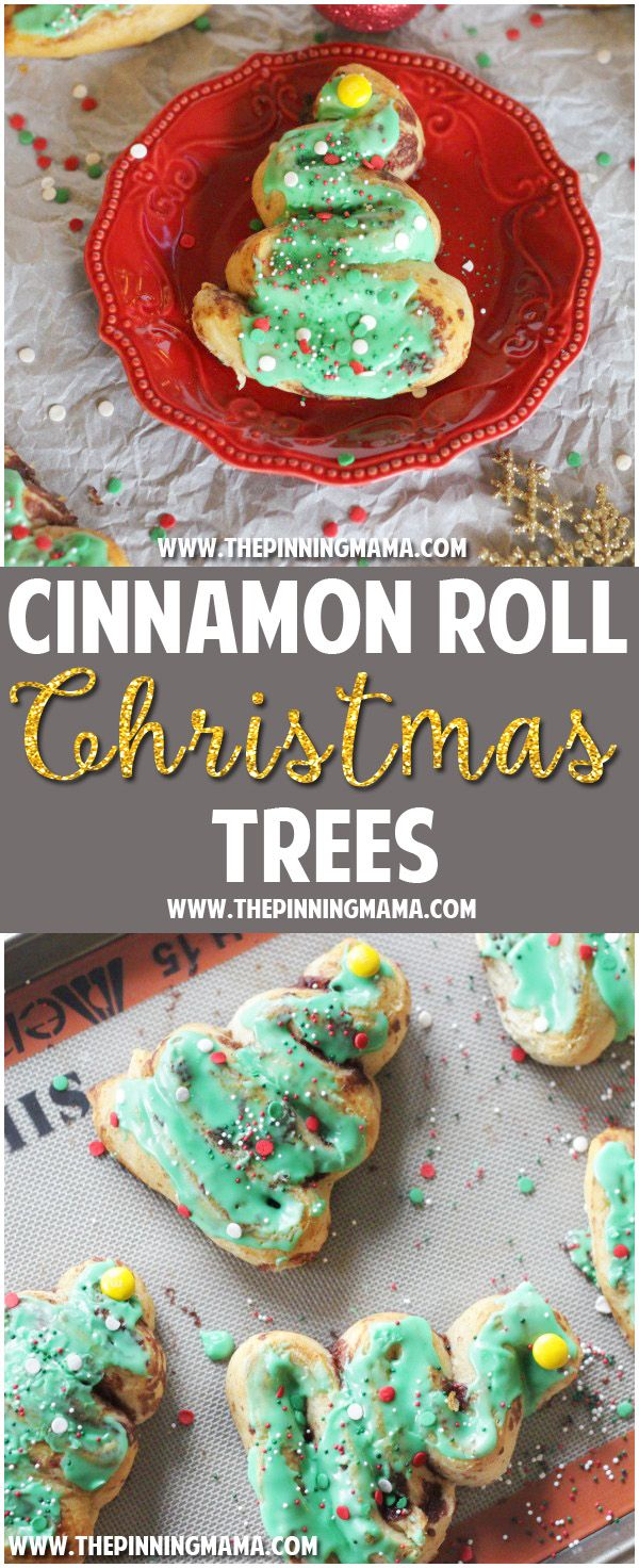 INGREDIENTS 1 Tube Pillsbury Grands Cinnamon Rolls 3 Drops green food coloring 5 Yellow M&Ms Assorted Christmas Sprinkles