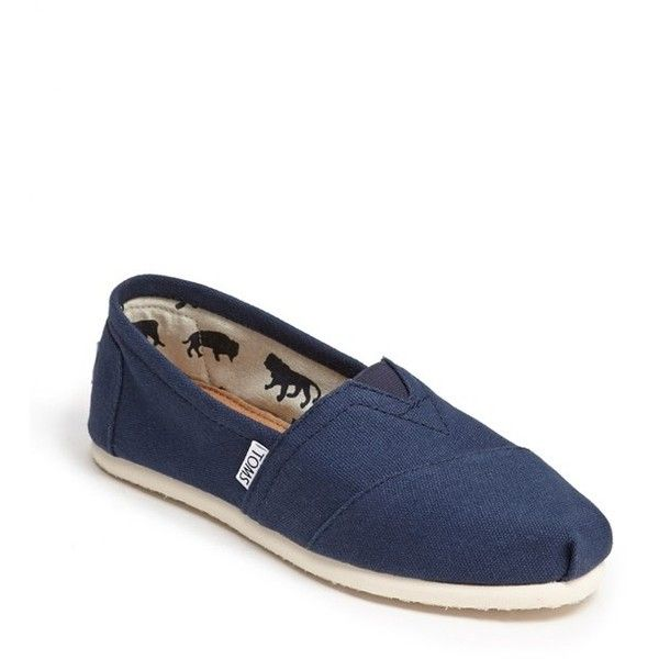 TOMS 'Classic' Canvas Slip-On ($48) ❤ liked on Polyvore featuring shoes, flats, toms, navy, toms flats, canvas flats, canvas flat shoes, navy flat shoes and slip on flats