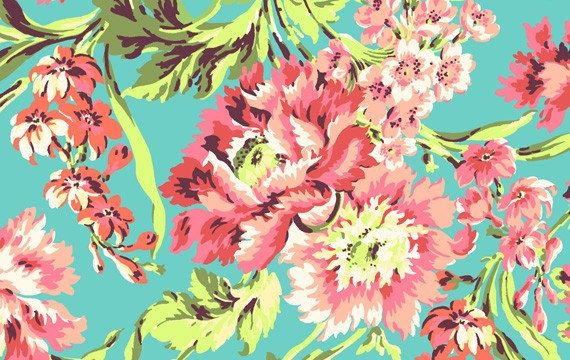 Amy Butler Fabric Love Bliss Bouquet in color teal. One yard cut of 44/45 wide 100% cotton fabric. All of my items come from a smoke free home
