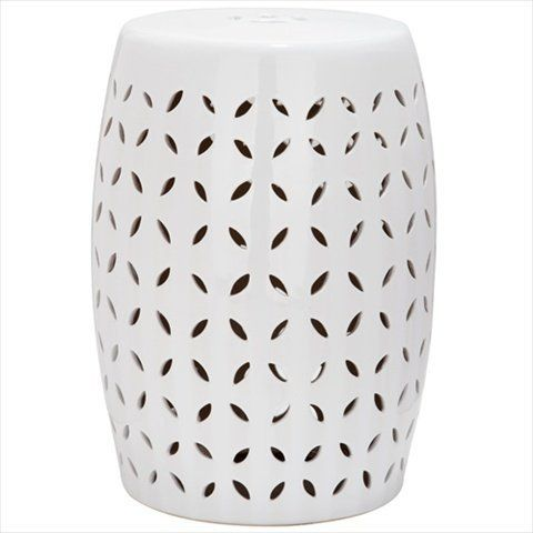 Safavieh Castle Gardens Collection Lattice Petal Ceramic Garden Stool,  White Safavieh