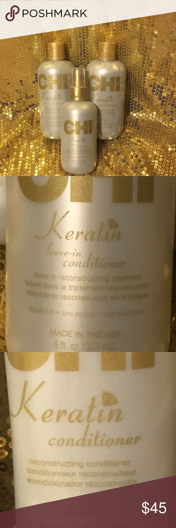 CHI keratin full hair care set Never been used keratin shampoo, conditioner, leave in conditioner. 12fl oz CHI Other
