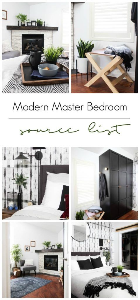 A list of the sources in this modern master bedroom design! Beautiful black, white and blue palette with modern accessories, furniture and DIY projects. LOVE the wallpaper and the personalized touches!