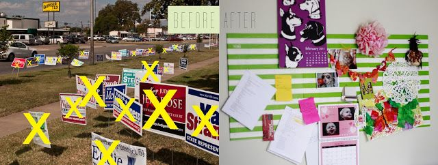 Upcycling Political Signs, Project One: Bulletin Board