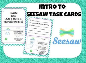 Want to use seesaw in your classroom? Use these simple task cards to help introduce Seesaw to your students. Each task card includes step by step directions on how to complete each task. Task cards include: video, drawing and recording, taking pictures, and capturing images.