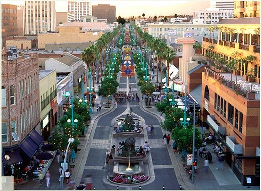 Third Street Promenade - blocks from the S.M. pier this outdoor walkway has numerous shops, restaurants & movie venues ... across the street is the Santa Monica Mall with many more upscale stores and eateries <3 <3 <3 ... you can deff `shop til you drop'