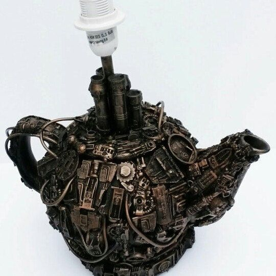 The newest design for my teapot lamp. Each one is unique and made to order.  Planning a whole series of sculptural lamps.  Watch this space.
