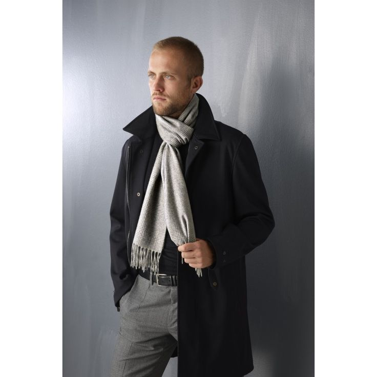 Cashmere scarf with fringes, Prince of Wales unisex