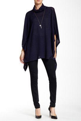 BLVD Cowl Neck Asymmetrical Sweater - Shop for women's Sweater - Navy Sweater