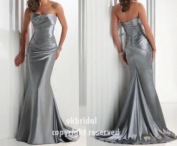 Mermaid silver prom dress long silver dress cheap prom by okbridal, $128.99