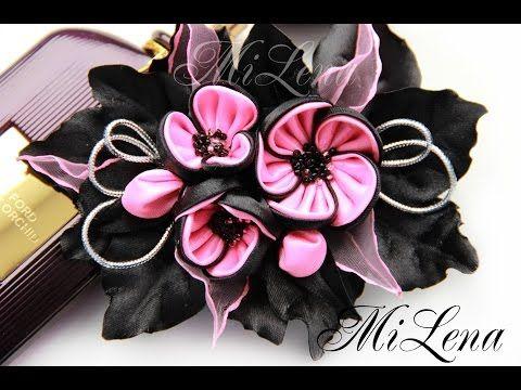 DIY Kanzashi flower hairclip / Заколка канзаши / Пошаговый мастер-класс / - YouTube
