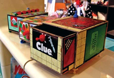 Boxes made from old games---Ahah!  Scrabble boards reborn!!