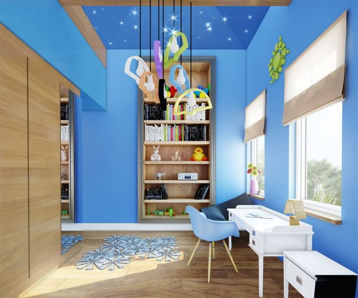 W podmiejskiej willi w stylu klasycznym pokoje dziecięce zaaranżowano nowocześnie z designerskimi meblami. Pokój jest bardzo wysoki aż pod samą kalenicę, a na sklepieniu zainstalowano gwiezdne niebo.