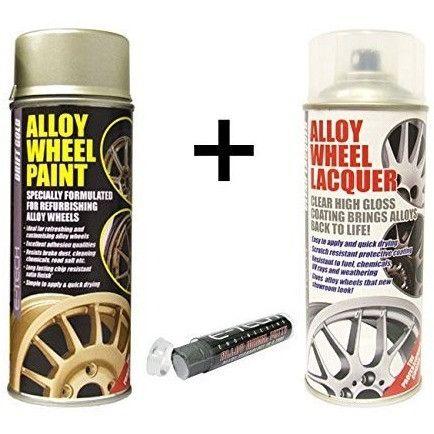 E-Tech DRIFT GOLD Alloy Wheel Paint + E-Tech CLEAR LACQUER 2 x 400ml Cans + E-Tech Filler Putty