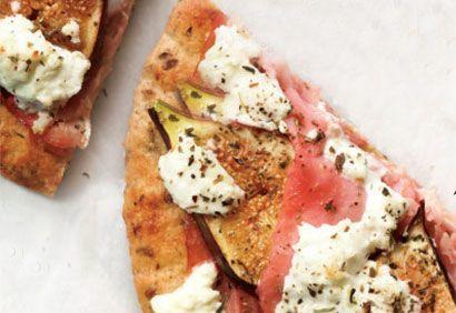 pizza jambon, figues et chèvre