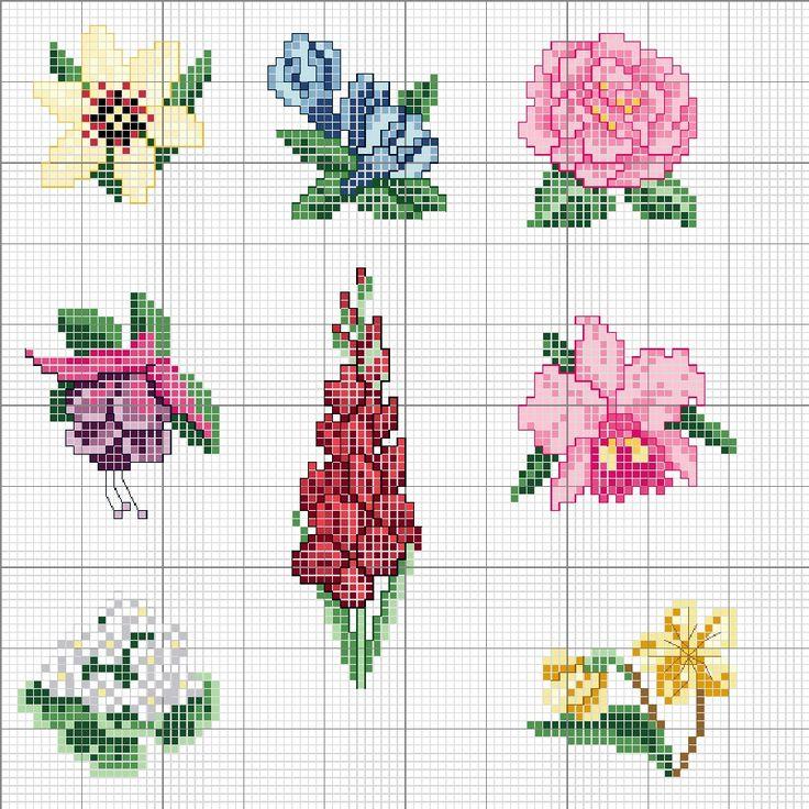 Cenefas, esquinas, ramos y flores grandes y pequeñas a punto de cruz