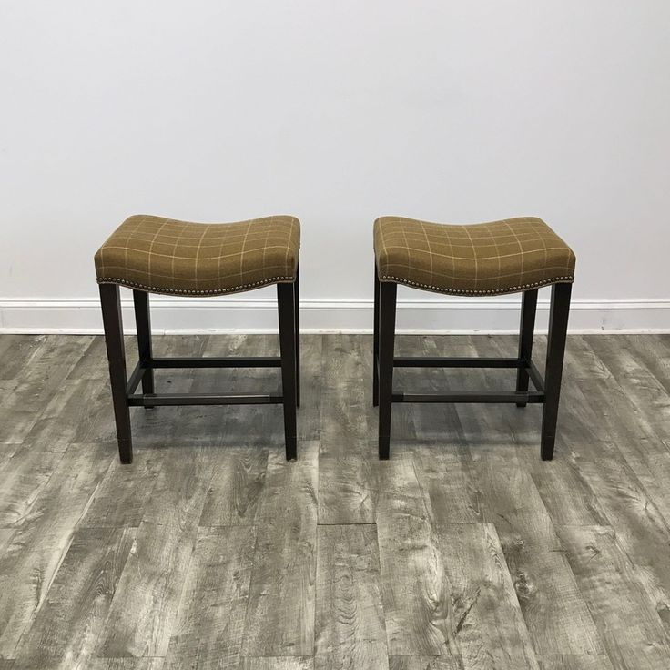 Pair Of Madigan Backless Plaid Counter Stools By Hickory Chair   Chicago,  IL Https: