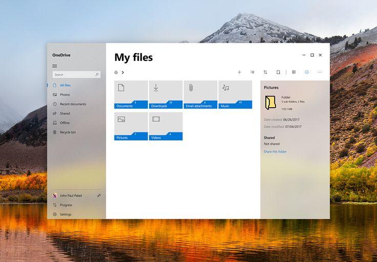Fluent Design: OneDrive on Behance