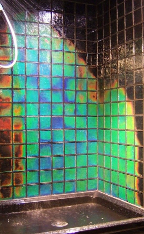 """Heat Sensitive Tile. Add colored shower head and WHAM!   *Cue """"Carless Whisper"""""""