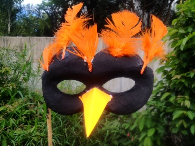 Bird mask. homemade kids craft bird masquerade mask feathers  - Dramatic Bird Mask