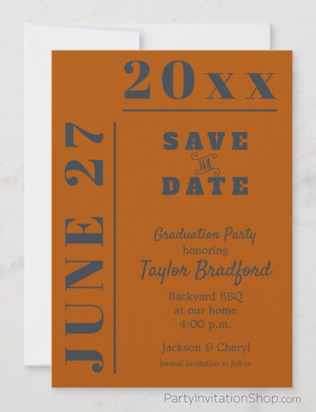 School Colors Graduation Save The Date Cards Save The Date Cards Printable Invitation Templates School Colors