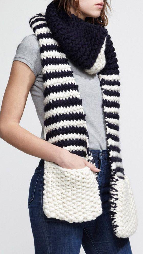 Nautical Stripe Scarf w/ Pockets to keep your Hands Warm ♡