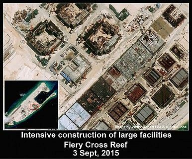 China building on Fiery Cross Reef, Spratlys. http://thediplomat.com/2015/09/south-china-sea-satellite-imagery-shows-chinas-buildup-on-fiery-cross-reef/