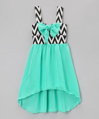 Love this Mint Bow Zigzag Hi-Low Dress - Toddler & Girls on #zulily! #zulilyfinds