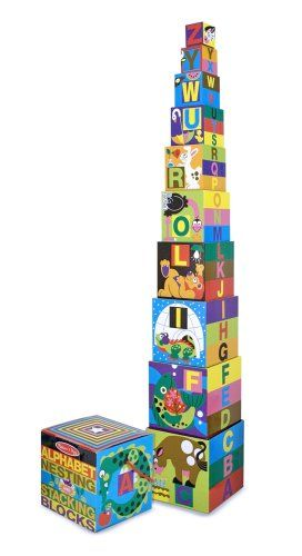 Amazon.com: Melissa  Doug Deluxe 10-Piece Alphabet Nesting and Stacking Blocks: Toys  Games