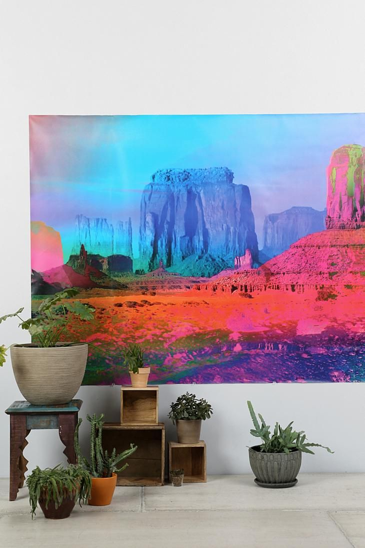 Technicolor desert wall mural urbanoutfitters for Desert wall mural