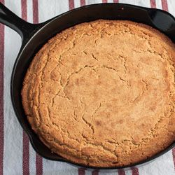 Recipe for Southern-style unsweetened cornbread, cooked in a cast iron skillet.