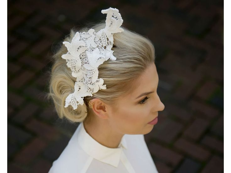 Handmade White Lace Wave Fascinator from Tegen Accessories