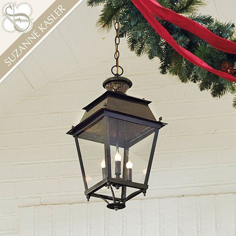 Designer Suzanne Kasler found the original inspiration for her Pascal Lantern at a French market. We recreated every charming antique detail.: Suzannewriter Kasler, Kasler Pascale, Pascale Hanging, Lanterns Lights, Hanging Lanterns, Lights Ideas, Homes, Ballard Design, Front Porches