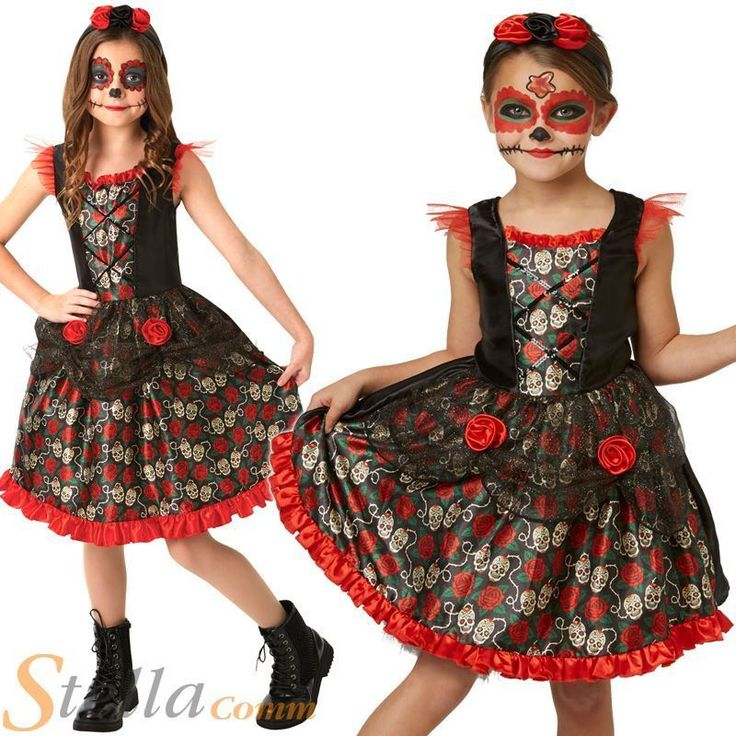 Girls Red Rose Day Of The Dead Costume Halloween Mexican Fancy Dress Outfit