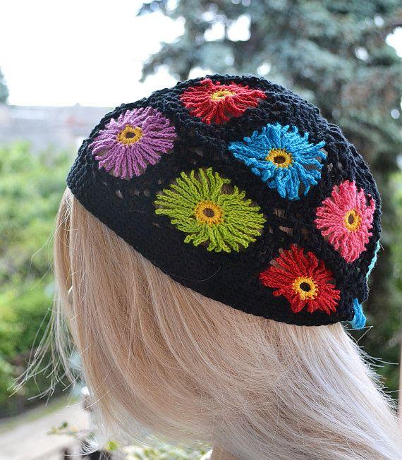 Easter cap Spring hat Flowers Multicolour cap women hat #Springhat #Summerhat #Beachhat #Dosiakstyle