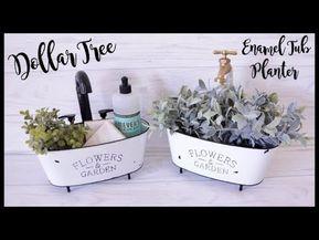 Dollar Tree DIY Farmhouse Enamel Tub Planter – YouTube