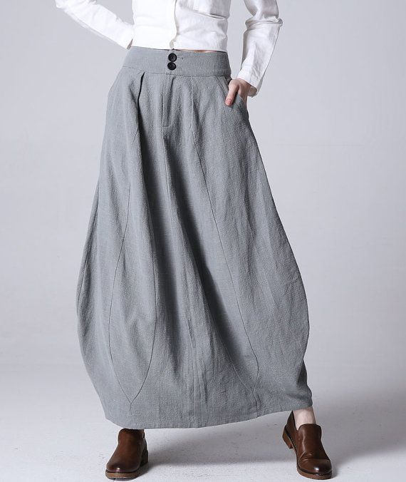 lilac gray bubble skirt - women maxi linen skirt with fitted wasit - Custom made skirt (1192)