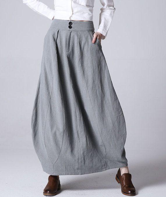 bubble skirt, lilac gray skirt,long skirt,linen skirt,womens skirt,fashion clothing,skirt with pockets,fitted waisted skirt(1192)