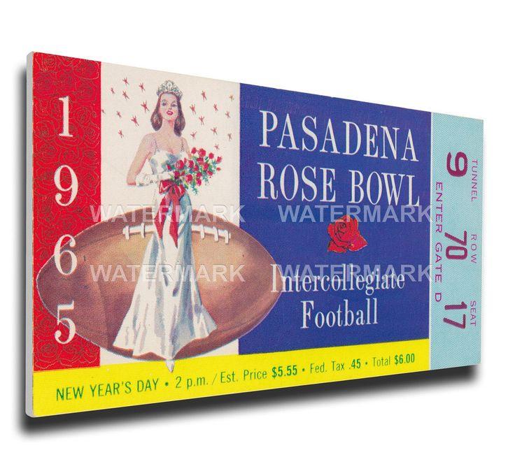 Michigan Wolverines Wall Art - 1965 Rose Bowl Canvas Mega Ticket