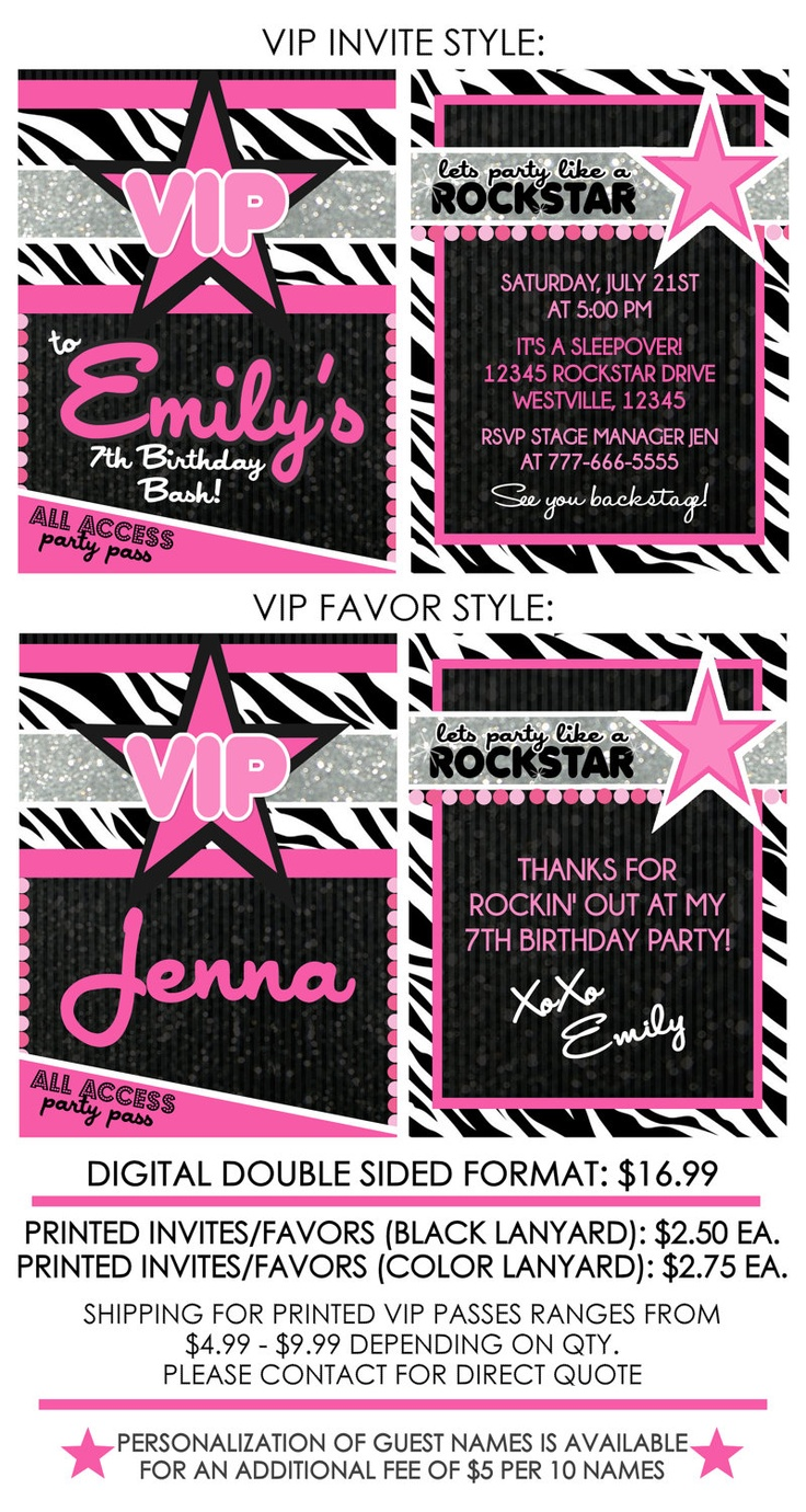 Girly Rockstar VIP Passes Invites or