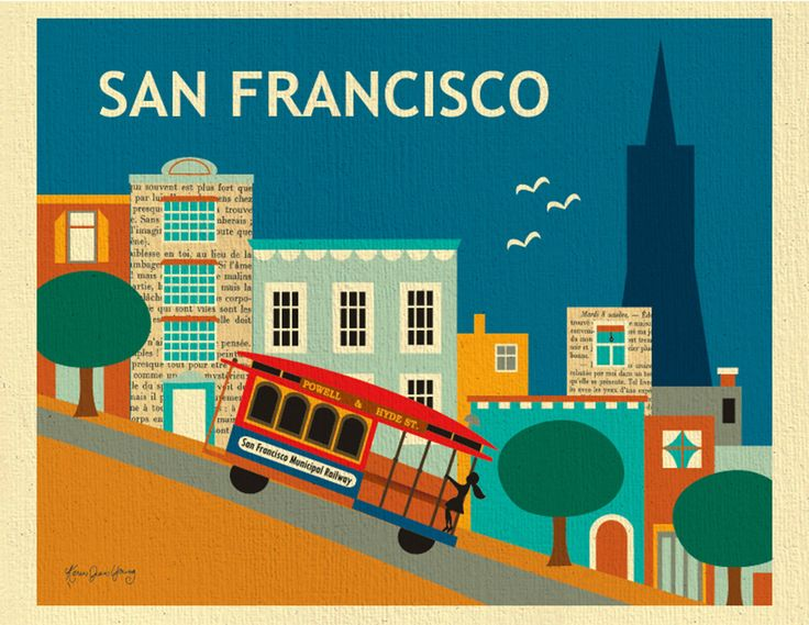 San Francisco Print of  Nob Hill, SF City Horizontal Print, Downtown, San Francisco SF Cable car print, SF Baby Nursery Art, style E8-O-SF17 by LoosePetals on Etsy https://www.etsy.com/uk/listing/106388587/san-francisco-print-of-nob-hill-sf-city
