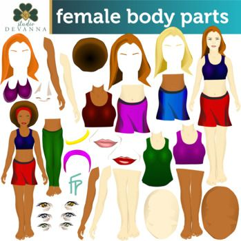 This is a large 124 piece mix and match female parts set. Use it to make a female in different outfits, with different features, and accessories. This set includes two different skin tones and lip colors, three different eye colors, four different colored tank tops, sports bras, skirts, pants, and shoes and much more.