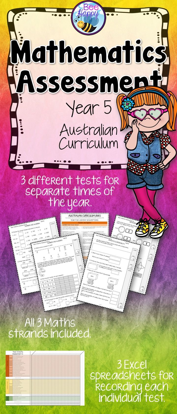 These Maths tests, for year five students, are linked to the Australian Curriculum. They cover Number & Algebra, Measurement & Geometry and Statistics & Probability. This resource includes three assessments, answers, a marking key and an Excel recording sheet which automatically calculates percentages.
