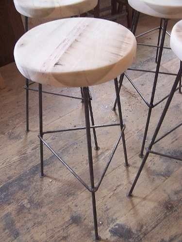 Banquetas desayunador barra mesa ratona madera hierro for Mesa ratona