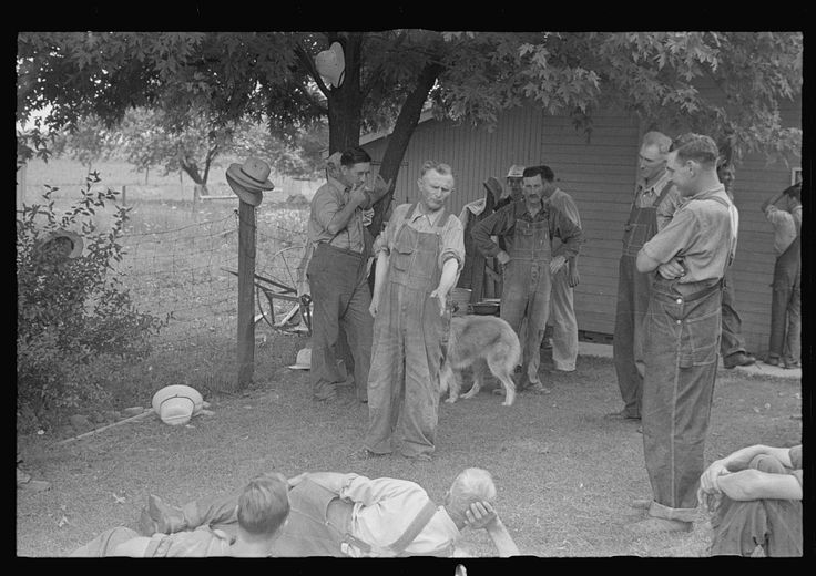 Ben Shahn. Political forum before dinner during wheat harvest, central Ohio. 1938 Aug. Library of Congress.
