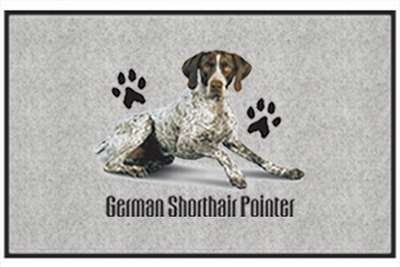 "German Shorthair Pointer - Sporting Dogs - Gray - Door and Welcome Mat by Express Yourself Mats. $24.88. Great Gift Idea!. Made in USA. Door Mat Size 27""x18"". Personalization Available (choose above) - EMAIL TEXT TO SELLER AFTER CHECKOUT. Non-Skid Backing. Enjoy the German Shorthair Pointer design heat pressed on this light-weight, low pile, woven polyester door mat. This decorative welcome mat measures 27 x 18 inches, is 1/8 inch thick and features a non-skid latex coating ..."