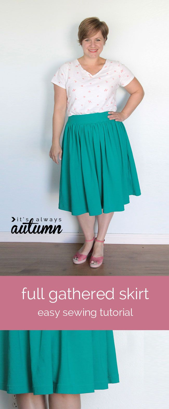 easy sewing tutorial for a flattering women's full gathered skirt - the elastic waist makes it comfy, but the flat waistband makes it look good!