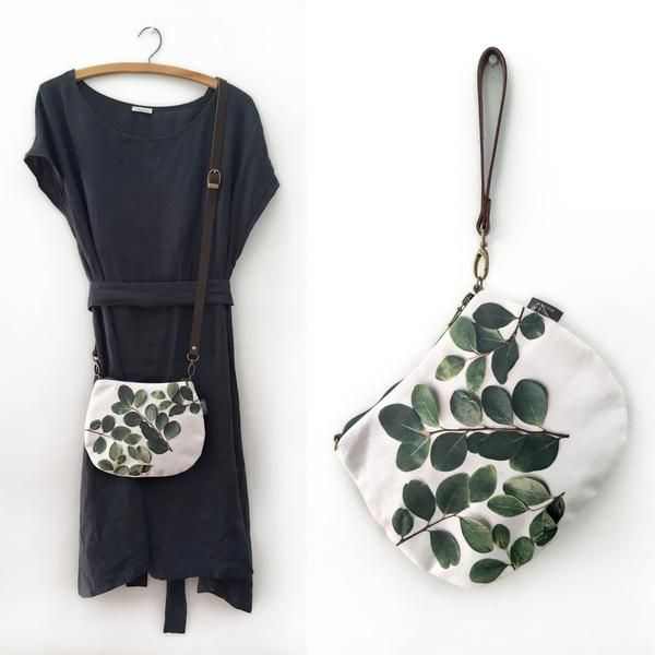 2-in-1 Crossbody / Clutch - Round Leaves