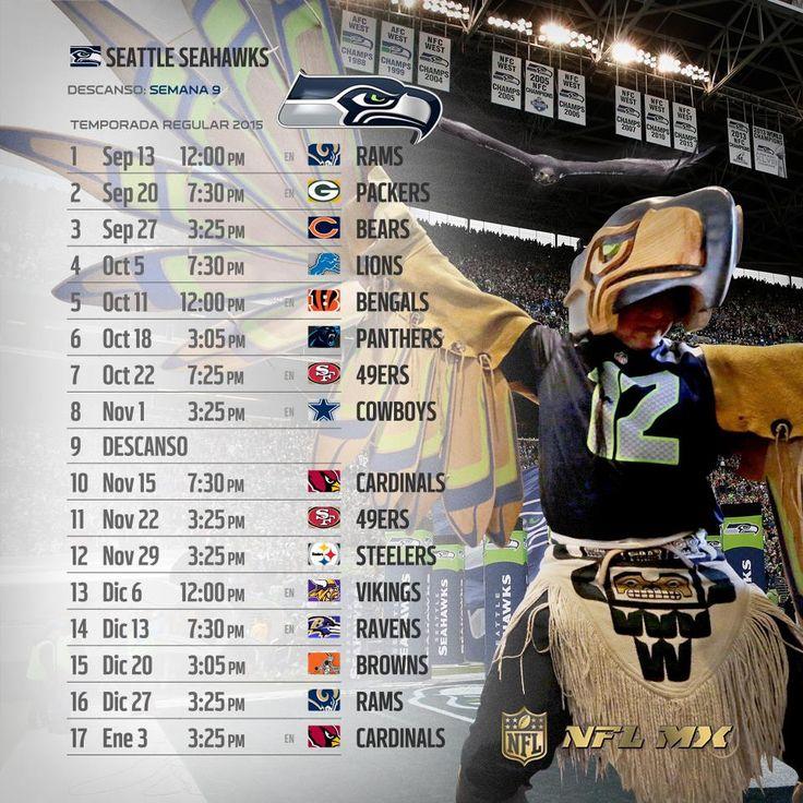 #NFL 2015: Te compartimos los calendarios de tus equipos favoritos para esta Temporada.   Con LIVE TOURS #YaEstásAhí #WeLoveFootball  Vía: NFL México  #SEAHAWKS