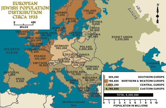 European Jewish population distribution, ca. 1933