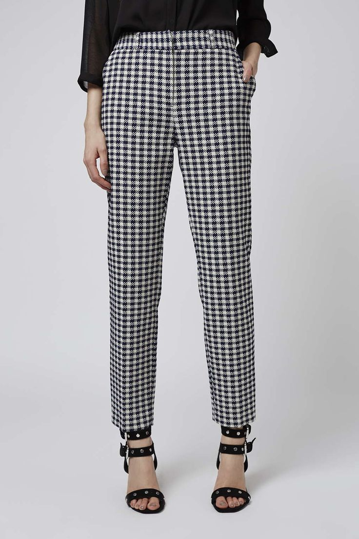 Make sure your smart-casual tailoring is on-point with these cigarette trousers. Detailed in a classic gingham print with belt loop detailing to the waist. #Topshop